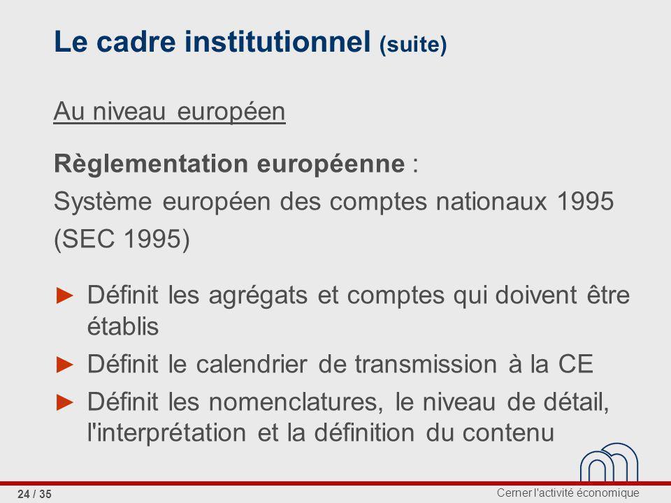 Cerner l activité économique 24 / 35 Le cadre institutionnel (suite) Au niveau européen Règlementation européenne : Système européen des comptes nationaux 1995 (SEC 1995) Définit les agrégats et comptes qui doivent être établis Définit le calendrier de transmission à la CE Définit les nomenclatures, le niveau de détail, l interprétation et la définition du contenu