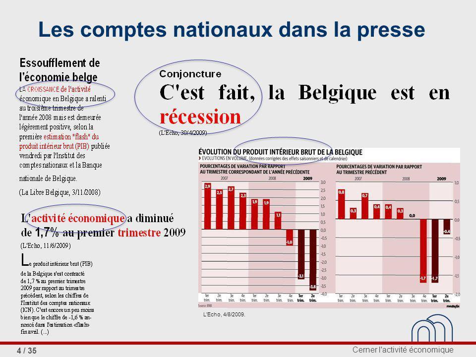 Cerner l activité économique 4 / 35 Les comptes nationaux dans la presse L Echo, 4/8/2009.