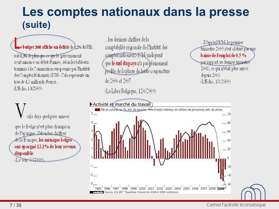 Cerner l activité économique 7 / 35 Les comptes nationaux dans la presse (suite)