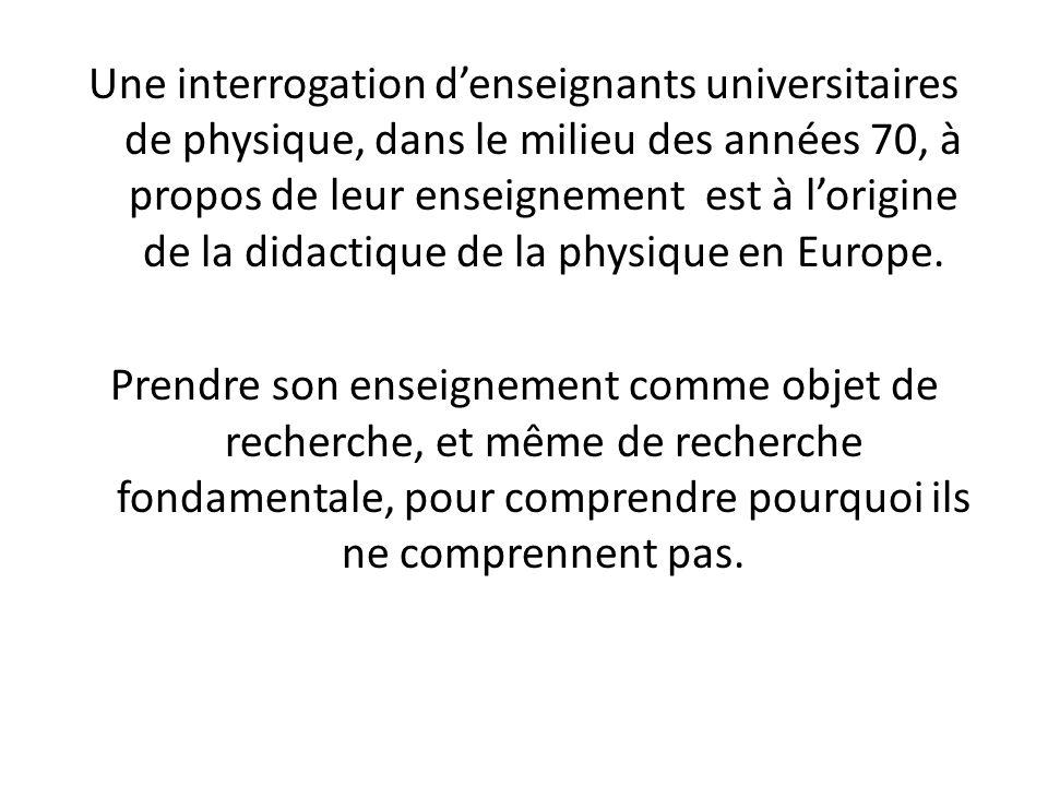 Une interrogation denseignants universitaires de physique, dans le milieu des années 70, à propos de leur enseignement est à lorigine de la didactique de la physique en Europe.