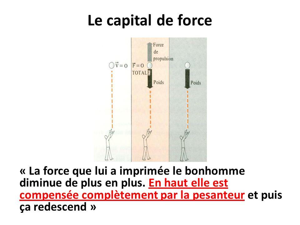 Le capital de force « La force que lui a imprimée le bonhomme diminue de plus en plus.