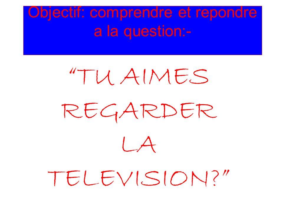 Objectif: comprendre et repondre a la question:- TU AIMES REGARDER LA TELEVISION?