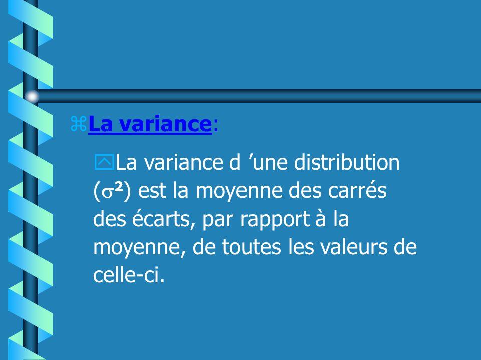 zL écart type: yL écart type d une distribution ( ) est simplement défini comme la racine carré de la variance.