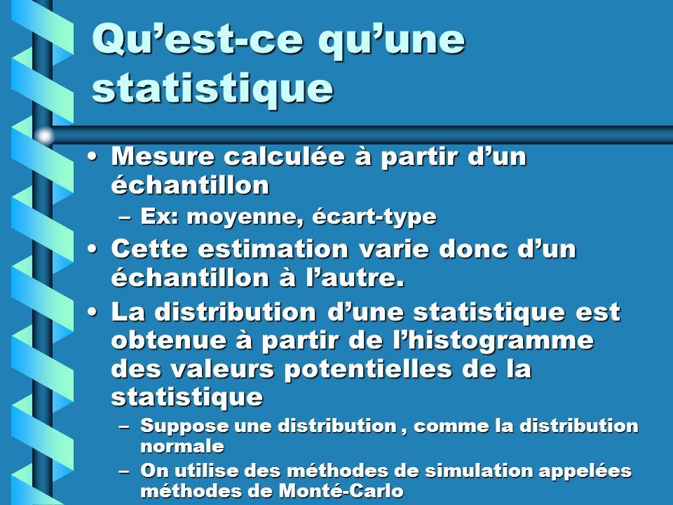 Quest-ce quune statistique Mesure calculée à partir dun échantillonMesure calculée à partir dun échantillon –Ex: moyenne, écart-type Cette estimation