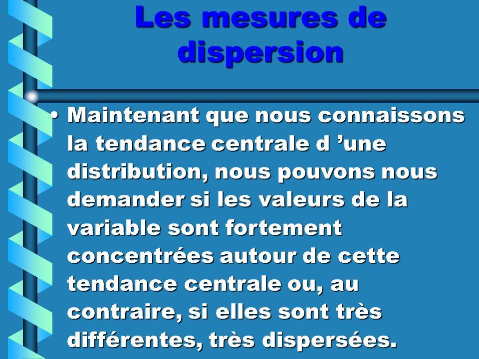 L étendue:L étendue: –L étendue d une distribution est la largeur totale de celle-ci.