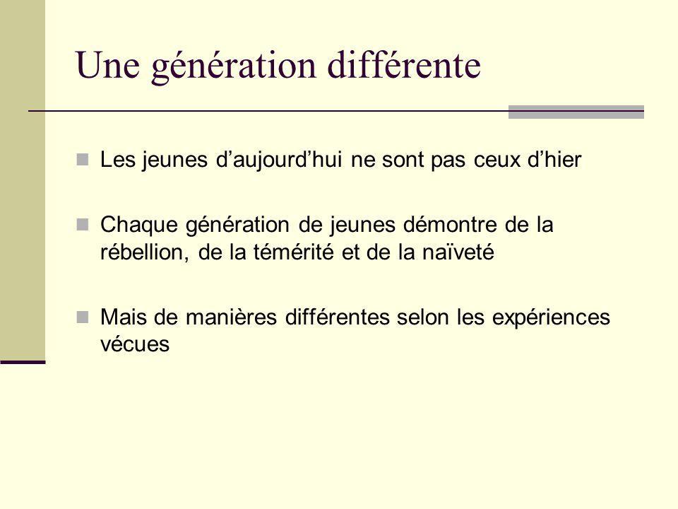 Une génération différente Les jeunes daujourdhui ne sont pas ceux dhier Chaque génération de jeunes démontre de la rébellion, de la témérité et de la naïveté Mais de manières différentes selon les expériences vécues