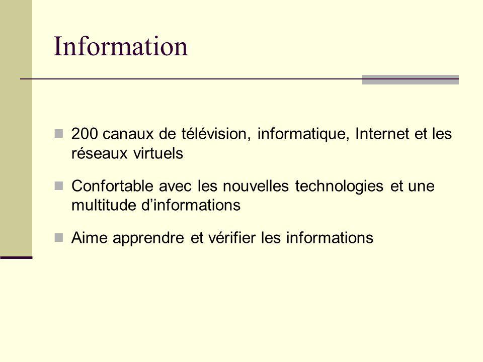 Information 200 canaux de télévision, informatique, Internet et les réseaux virtuels Confortable avec les nouvelles technologies et une multitude dinformations Aime apprendre et vérifier les informations