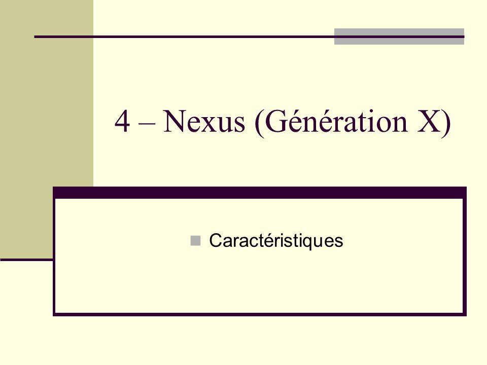 4 – Nexus (Génération X) Caractéristiques