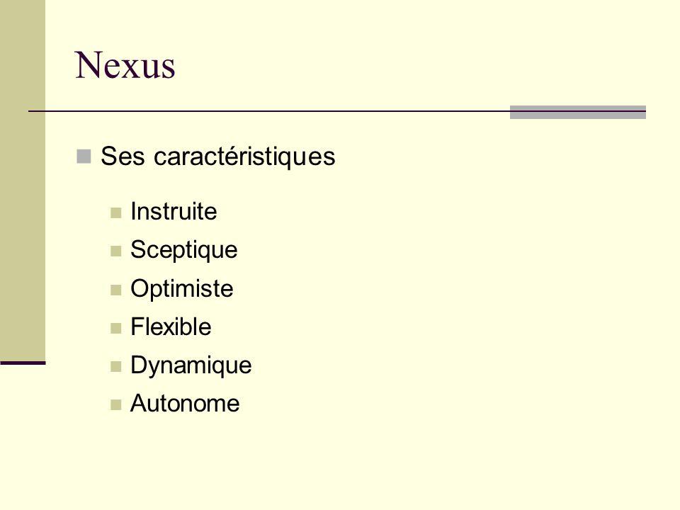 Nexus Ses caractéristiques Instruite Sceptique Optimiste Flexible Dynamique Autonome