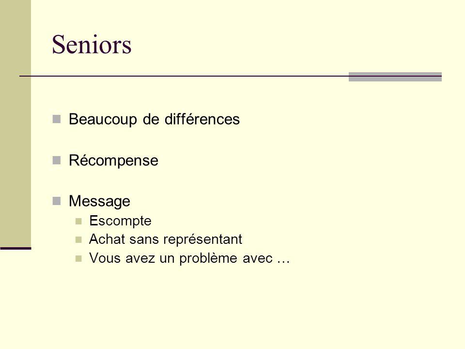 Seniors Beaucoup de différences Récompense Message Escompte Achat sans représentant Vous avez un problème avec …