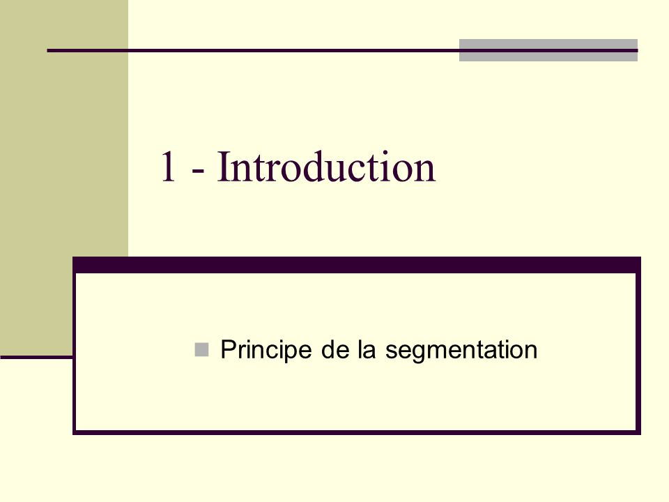 1 - Introduction Principe de la segmentation