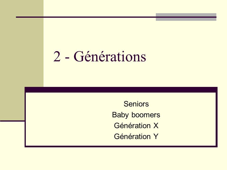 2 - Générations Seniors Baby boomers Génération X Génération Y