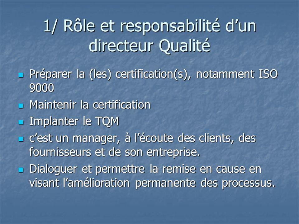 1/ Rôle et responsabilité dun directeur Qualité Préparer la (les) certification(s), notamment ISO 9000 Préparer la (les) certification(s), notamment I