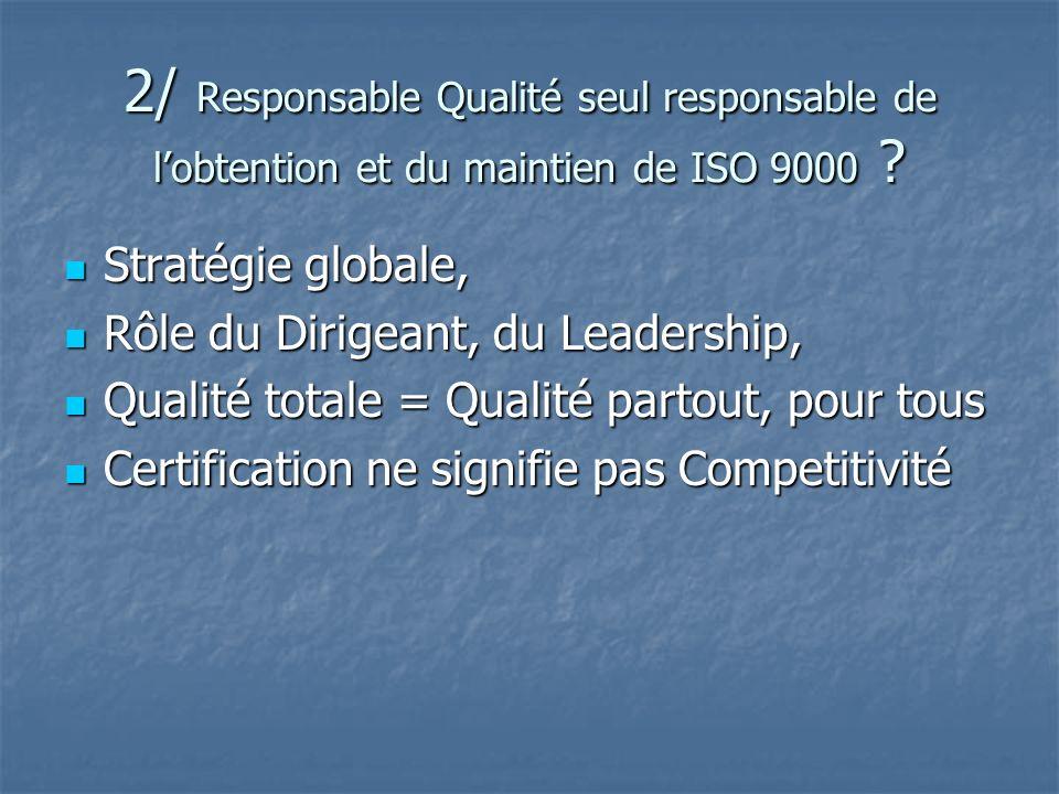 2/ Responsable Qualité seul responsable de lobtention et du maintien de ISO 9000 ? Stratégie globale, Stratégie globale, Rôle du Dirigeant, du Leaders