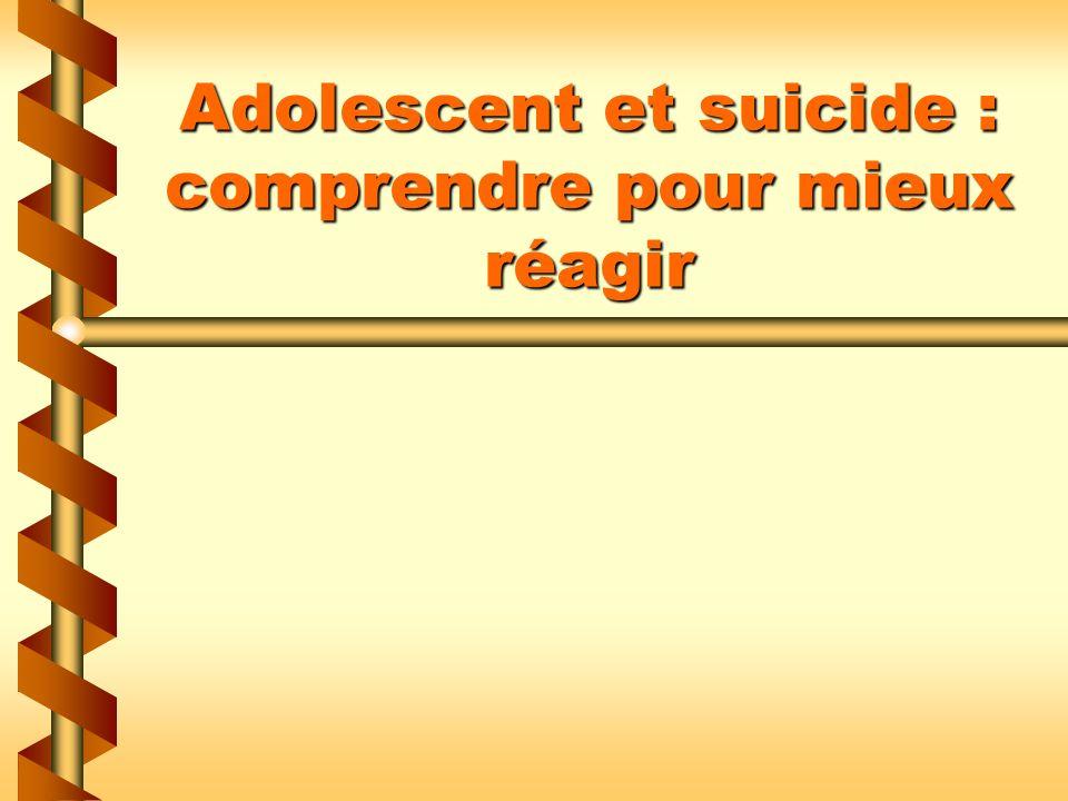 Plan de la conférence Lampleur de la problématique du suicide chez les adolescents Les principaux facteurs associés au suicide chez les adolescents La demande daide des hommes Les stratégies dintervention efficaces auprès des adolescents lors dune crise suicidaire
