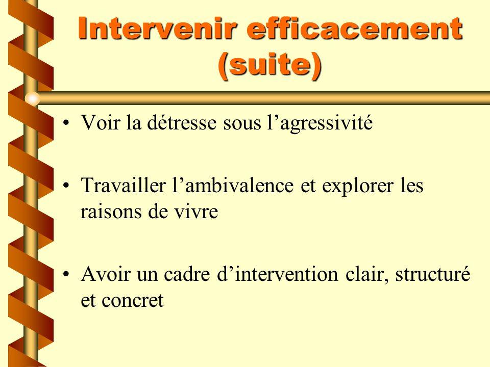 Intervenir efficacement (suite) Outiller, parler du « comment » plutôt que du « pourquoi » Utiliser des questions déchelle Adapter les services