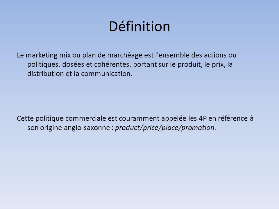 Définition Le marketing mix ou plan de marchéage est l ensemble des actions ou politiques, dosées et cohérentes, portant sur le produit, le prix, la distribution et la communication.