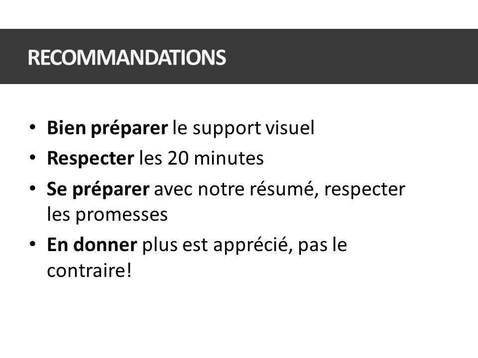 Bien préparer le support visuel Respecter les 20 minutes Se préparer avec notre résumé, respecter les promesses En donner plus est apprécié, pas le contraire.