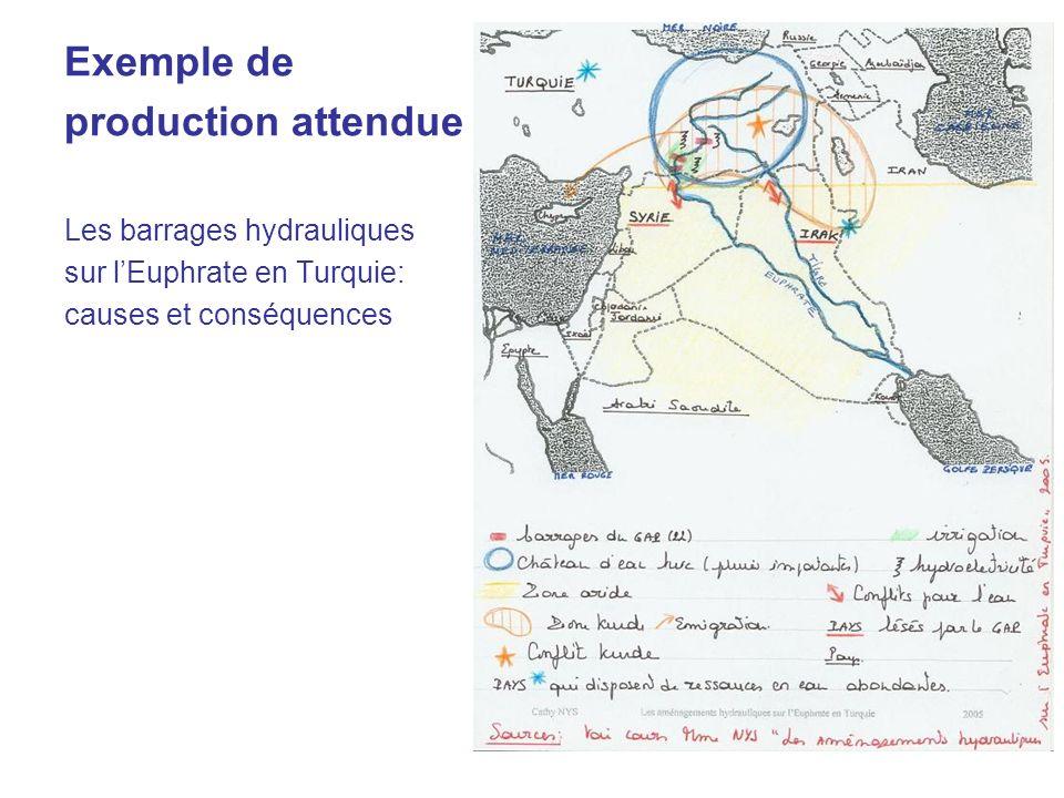 Exemple de production attendue Les barrages hydrauliques sur lEuphrate en Turquie: causes et conséquences
