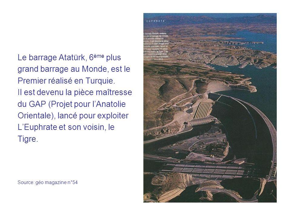 Le barrage Atatürk, 6 ème plus grand barrage au Monde, est le Premier réalisé en Turquie.