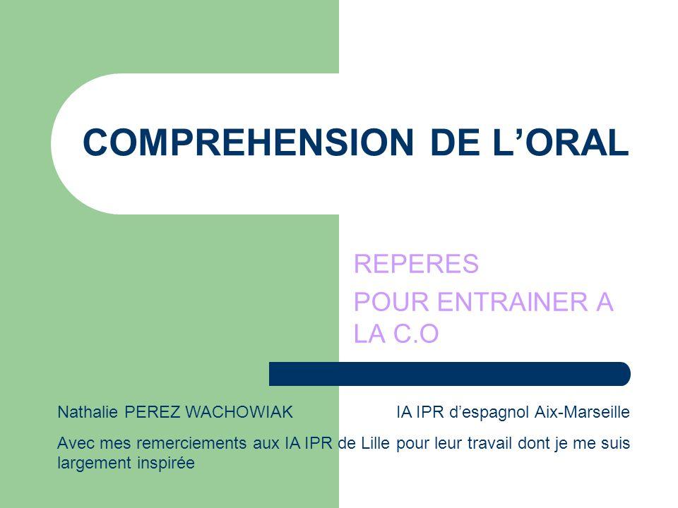 COMPREHENSION DE LORAL REPERES POUR ENTRAINER A LA C.O Nathalie PEREZ WACHOWIAK IA IPR despagnol Aix-Marseille Avec mes remerciements aux IA IPR de Li