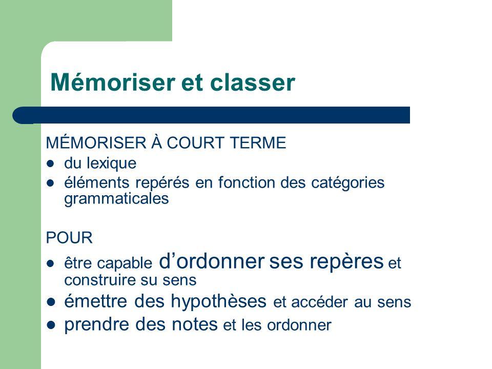 Mémoriser et classer MÉMORISER À COURT TERME du lexique éléments repérés en fonction des catégories grammaticales POUR être capable dordonner ses repè