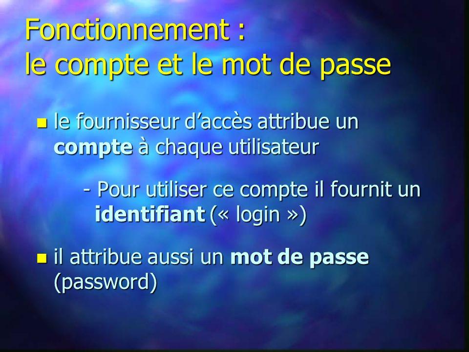 n le fournisseur daccès attribue un compte à chaque utilisateur - Pour utiliser ce compte il fournit un identifiant (« login ») n il attribue aussi un mot de passe (password) Fonctionnement : le compte et le mot de passe