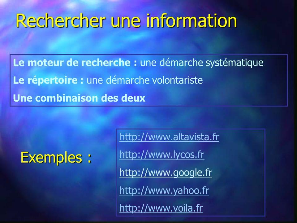 Le moteur de recherche : une démarche systématique Le répertoire : une démarche volontariste Une combinaison des deux Rechercher une information http://www.altavista.fr http://www.lycos.fr http://www.google.fr http://www.yahoo.fr http://www.voila.fr Exemples :