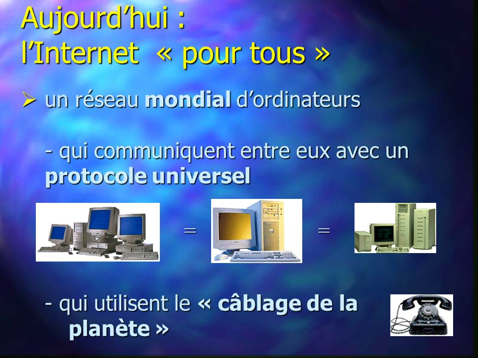 Aujourdhui : lInternet « pour tous » un réseau mondial dordinateurs - qui communiquent entre eux avec un protocole universel un réseau mondial dordinateurs - qui communiquent entre eux avec un protocole universel - qui utilisent le « câblage de la planète » = =
