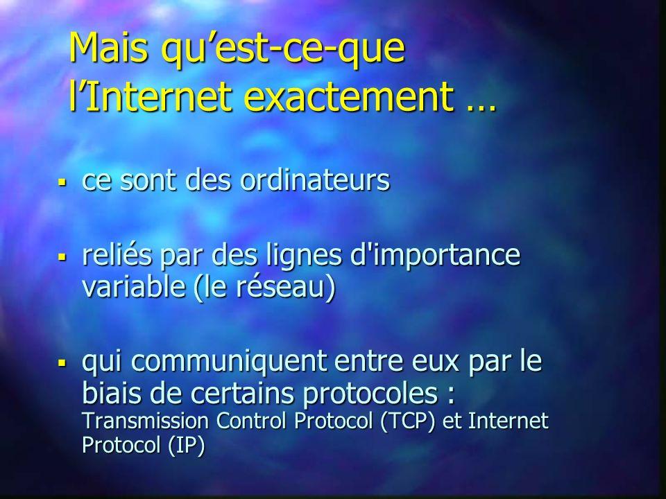 Mais quest-ce-que lInternet exactement … ce sont des ordinateurs ce sont des ordinateurs reliés par des lignes d importance variable (le réseau) reliés par des lignes d importance variable (le réseau) qui communiquent entre eux par le biais de certains protocoles : Transmission Control Protocol (TCP) et Internet Protocol (IP) qui communiquent entre eux par le biais de certains protocoles : Transmission Control Protocol (TCP) et Internet Protocol (IP)