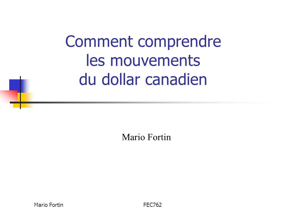 Mario FortinFEC762 Le $CAN et la productivité du travail Si chaque travailleur dispose de beaucoup déquipements, il peut produire plus à chaque heure travaillée.