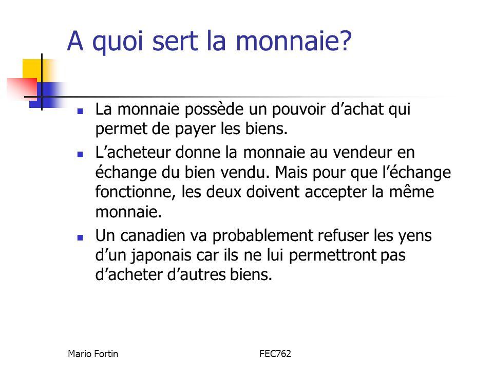 Mario FortinFEC762 La monnaie, comme une langue, est utile seulement en groupe Une monnaie est comme une langue : les deux permettent déchanger.