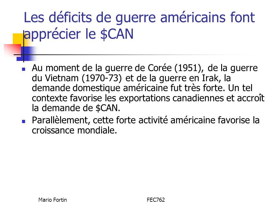 Mario FortinFEC762 Les déficits de guerre américains font apprécier le $CAN Au moment de la guerre de Corée (1951), de la guerre du Vietnam (1970-73) et de la guerre en Irak, la demande domestique américaine fut très forte.