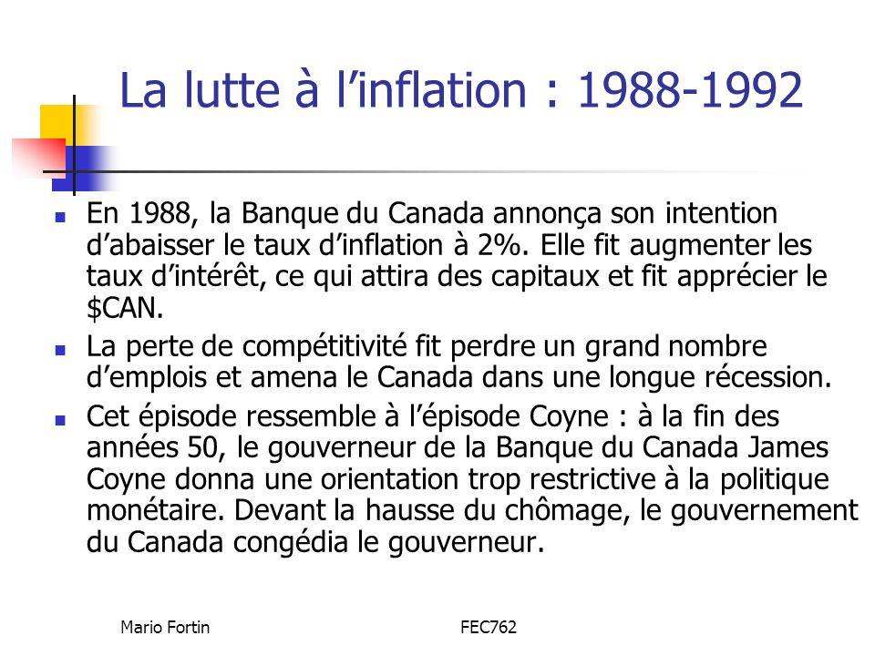 Mario FortinFEC762 La lutte à linflation : 1988-1992 En 1988, la Banque du Canada annonça son intention dabaisser le taux dinflation à 2%. Elle fit au