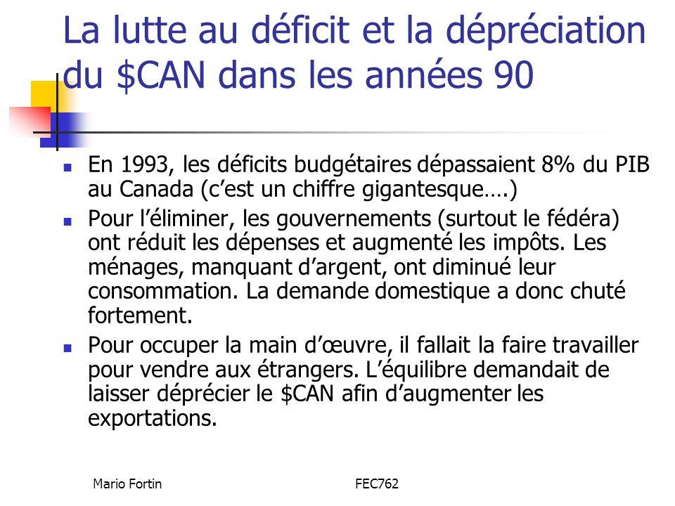 Mario FortinFEC762 La lutte au déficit et la dépréciation du $CAN dans les années 90 En 1993, les déficits budgétaires dépassaient 8% du PIB au Canada (cest un chiffre gigantesque….) Pour léliminer, les gouvernements (surtout le fédéra) ont réduit les dépenses et augmenté les impôts.