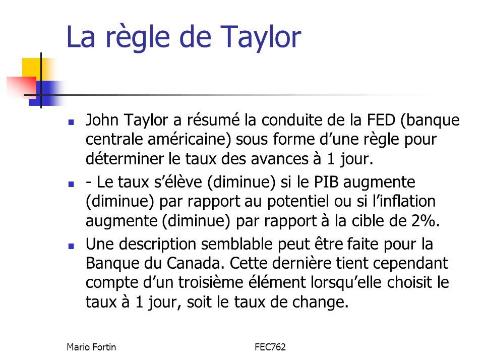 Mario FortinFEC762 La règle de Taylor John Taylor a résumé la conduite de la FED (banque centrale américaine) sous forme dune règle pour déterminer le taux des avances à 1 jour.