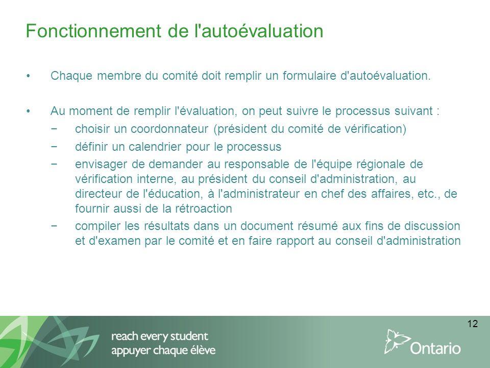 12 Chaque membre du comité doit remplir un formulaire d'autoévaluation. Au moment de remplir l'évaluation, on peut suivre le processus suivant : chois