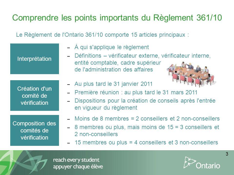 3 Comprendre les points importants du Règlement 361/10 Le Règlement de l'Ontario 361/10 comporte 15 articles principaux : Interprétation – À qui s'app