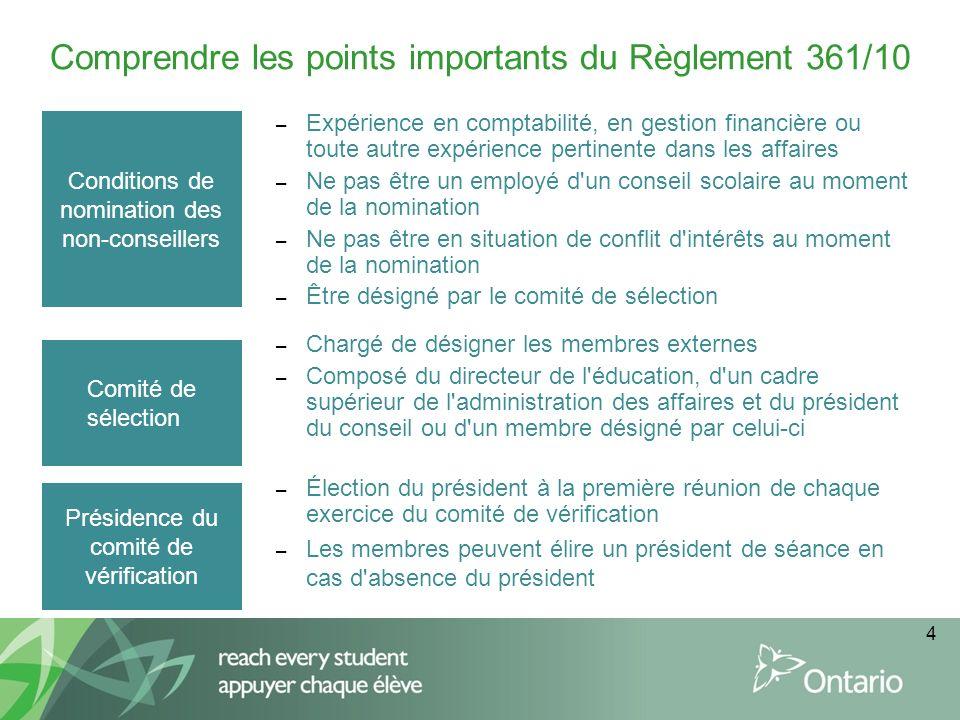 4 Comprendre les points importants du Règlement 361/10 Conditions de nomination des non-conseillers – Expérience en comptabilité, en gestion financièr