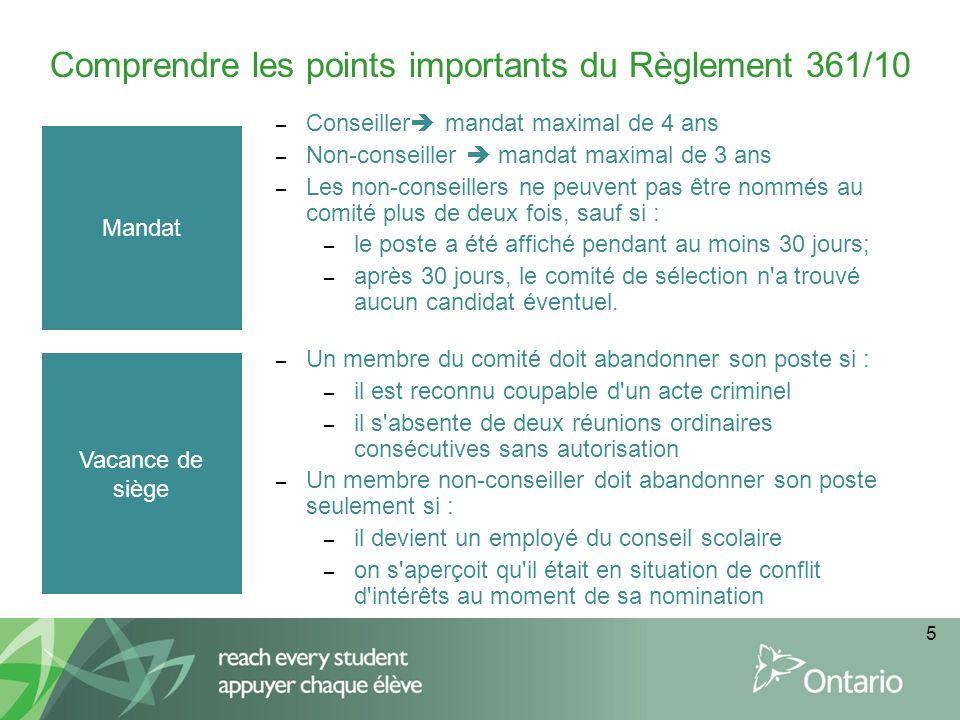 5 Comprendre les points importants du Règlement 361/10 Mandat – Conseiller mandat maximal de 4 ans – Non-conseiller mandat maximal de 3 ans – Les non-