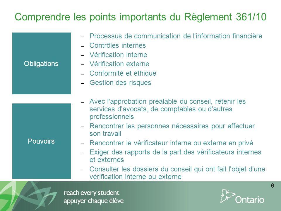 6 Comprendre les points importants du Règlement 361/10 Obligations – Processus de communication de l'information financière – Contrôles internes – Vér