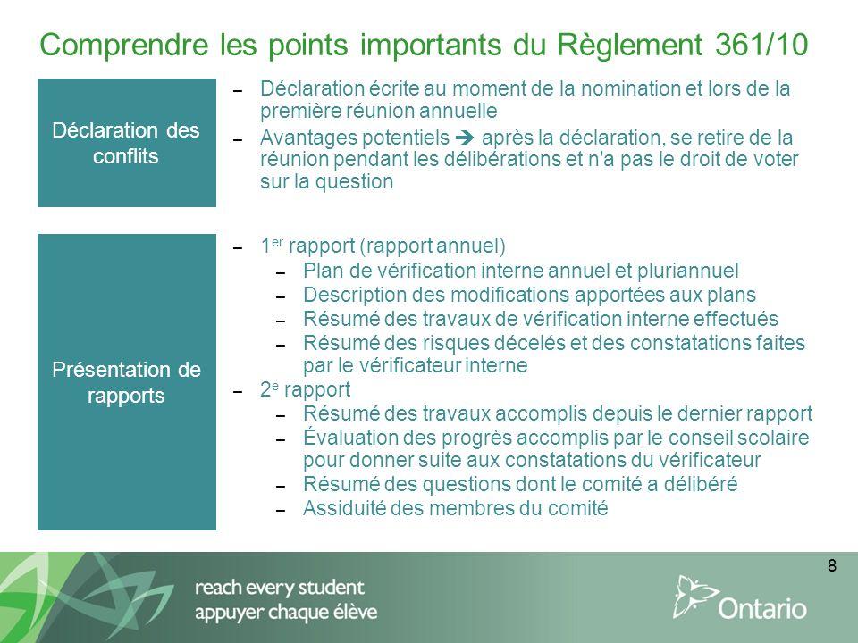8 Comprendre les points importants du Règlement 361/10 Déclaration des conflits – Déclaration écrite au moment de la nomination et lors de la première