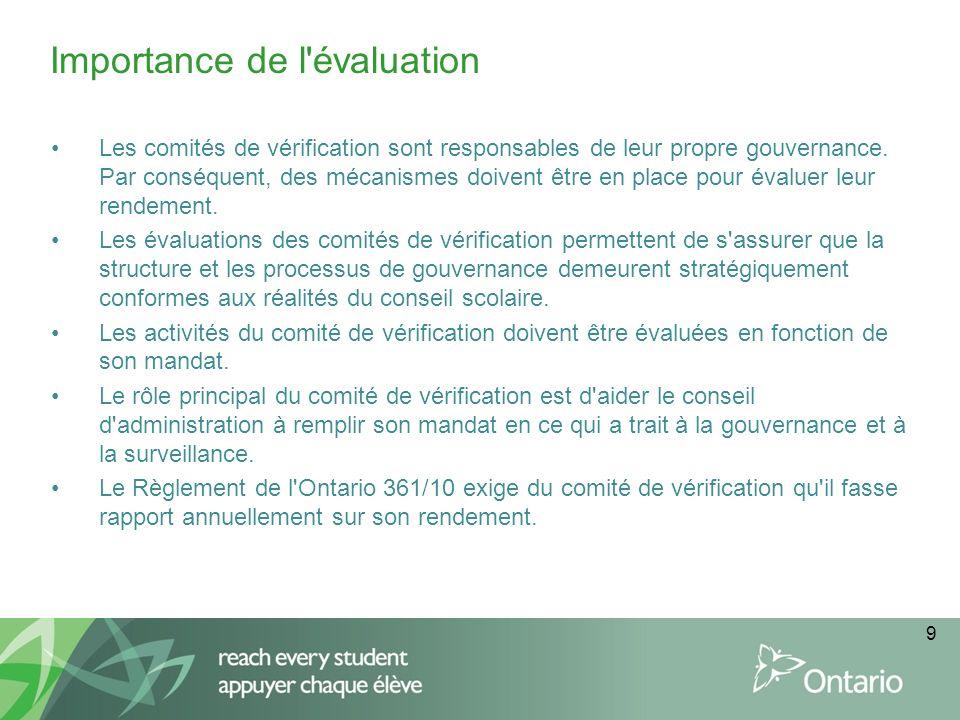 9 Les comités de vérification sont responsables de leur propre gouvernance. Par conséquent, des mécanismes doivent être en place pour évaluer leur ren