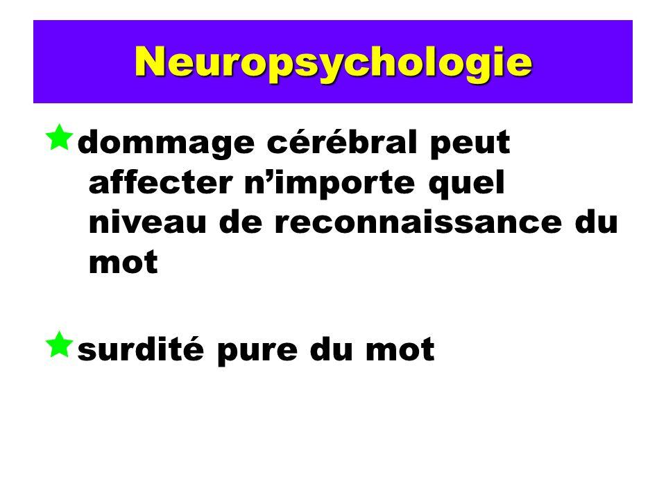 Neuropsychologie dommage cérébral peut affecter nimporte quel niveau de reconnaissance du mot surdité pure du mot