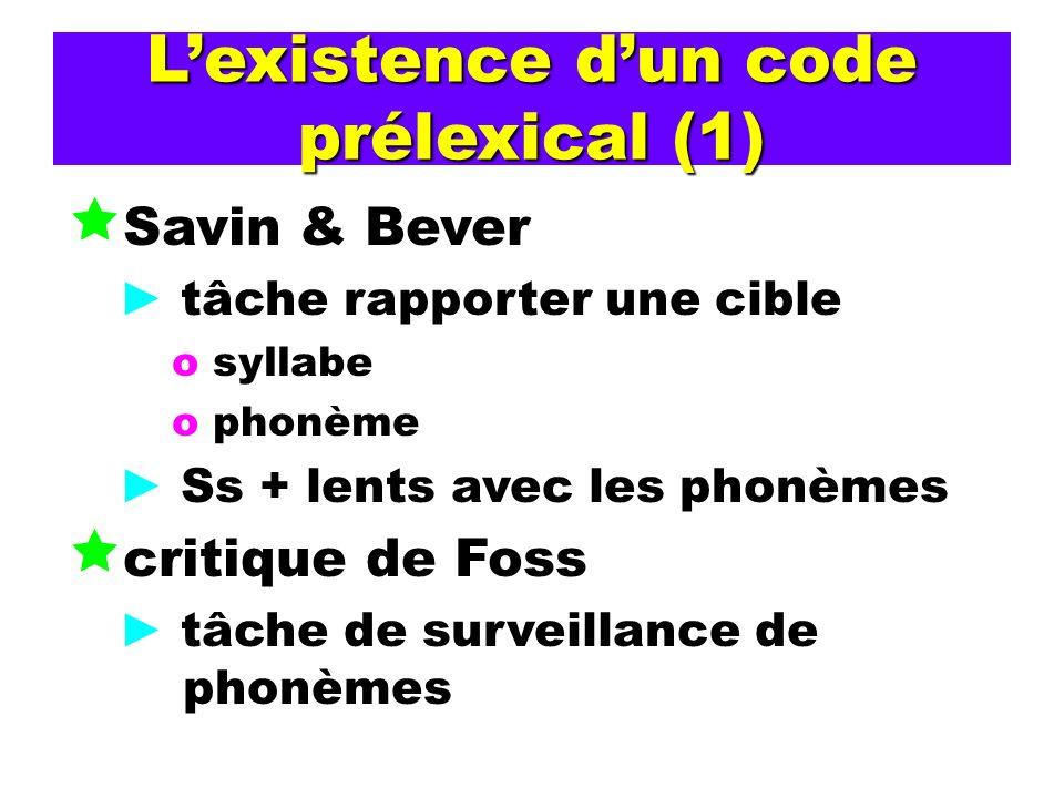 Lexistence dun code prélexical (1) Savin & Bever tâche rapporter une cible o syllabe o phonème Ss + lents avec les phonèmes critique de Foss tâche de