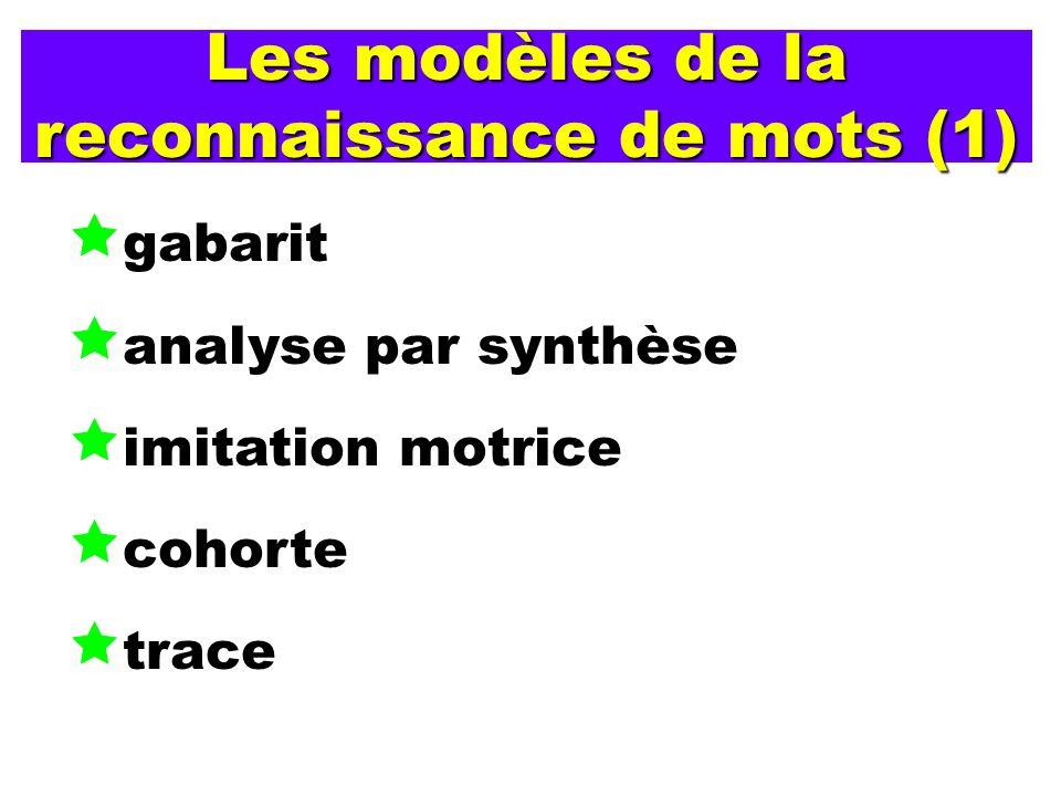 Les modèles de la reconnaissance de mots (1) gabarit analyse par synthèse imitation motrice cohorte trace