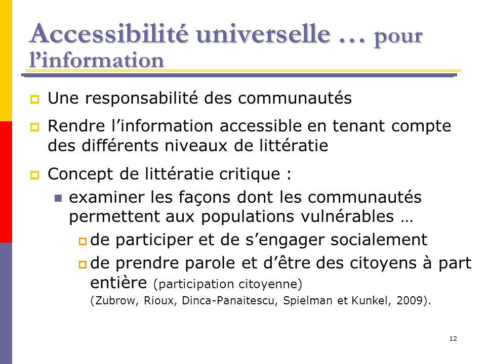 12 Accessibilité universelle … pour linformation Une responsabilité des communautés Rendre linformation accessible en tenant compte des différents niv