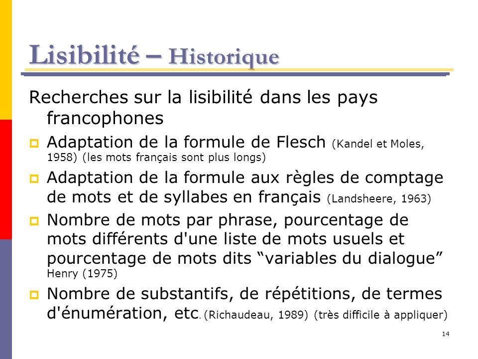 14 Lisibilité – Historique Recherches sur la lisibilité dans les pays francophones Adaptation de la formule de Flesch (Kandel et Moles, 1958) (les mot