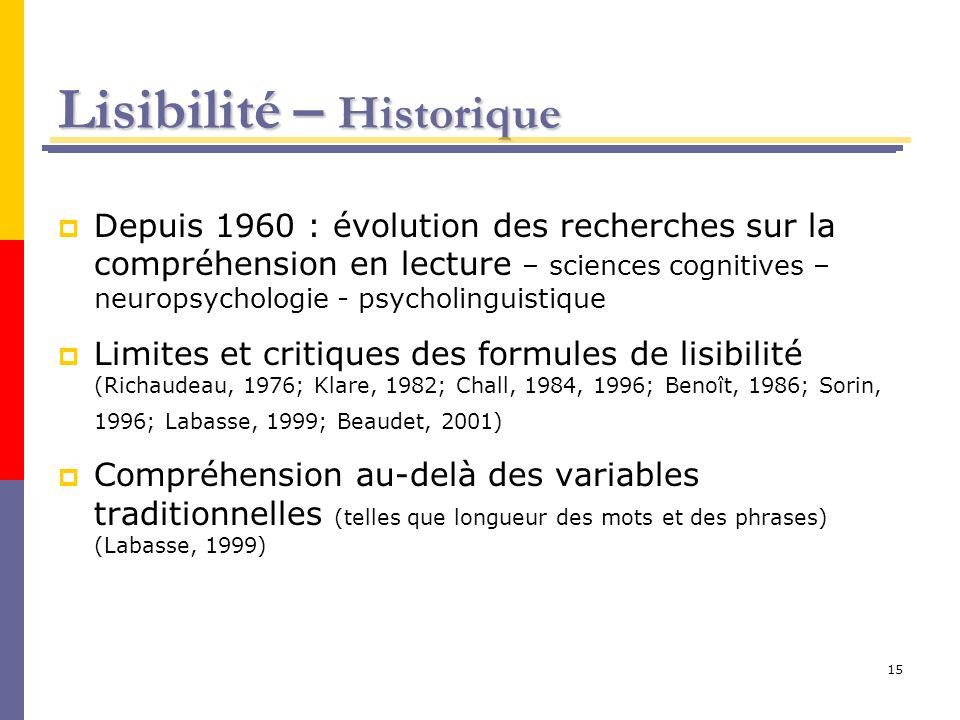 15 Lisibilité – Historique Depuis 1960 : évolution des recherches sur la compréhension en lecture – sciences cognitives – neuropsychologie - psycholin