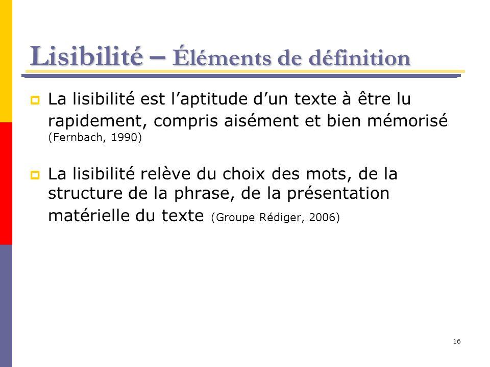16 Lisibilité – Éléments de définition La lisibilité est laptitude dun texte à être lu rapidement, compris aisément et bien mémorisé (Fernbach, 1990)